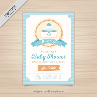 Baby shower invitation with a sailor hat
