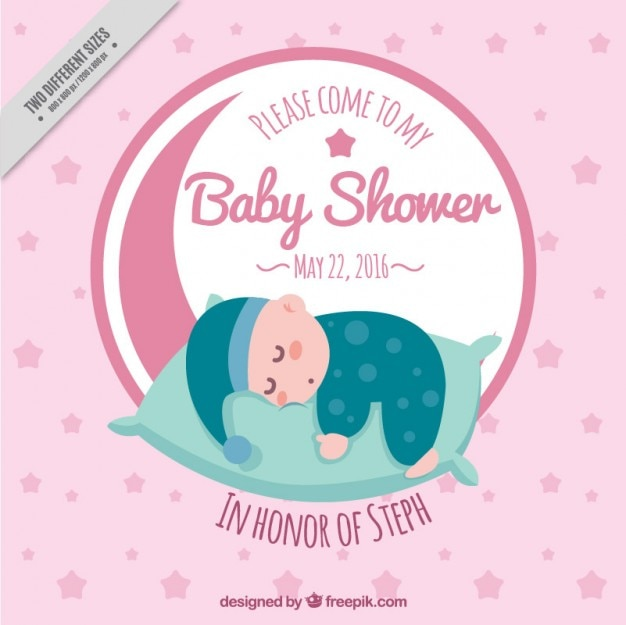 Baby shower invitation with a sleeping baby
