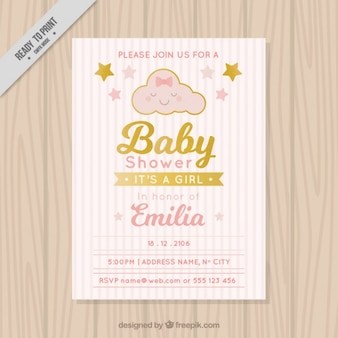 Baby shower invitation with striped background