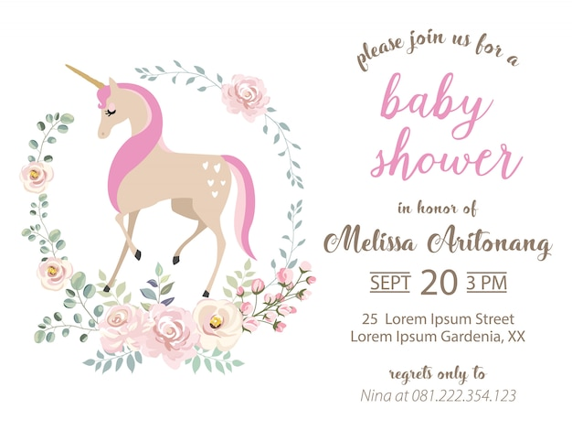 Baby shower invitation with unicorn and floral wreath