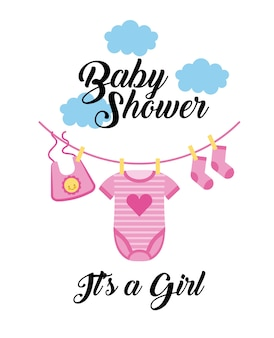 Baby shower its a girl clothes hanging with cloud