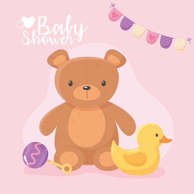 Baby shower, kids toy teddy bear duck and rattle vector illustration