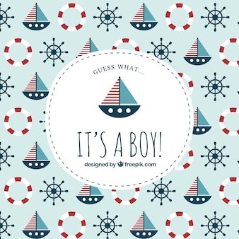 Baby shower label on nautical pattern