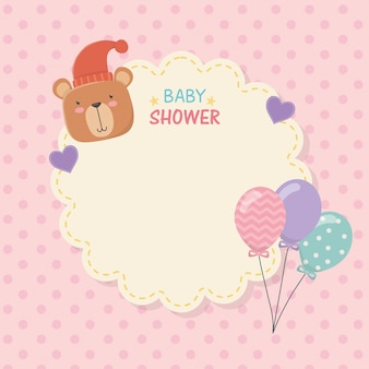 Baby shower lace card with little bear teddy and balloons helium