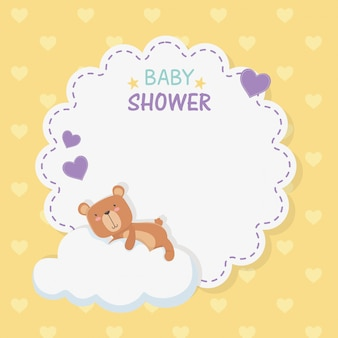 Baby shower lace card with little bear teddy in cloud