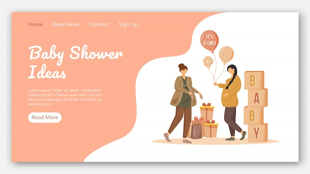 Baby shower landing page vector template. party for expecting mother website with flat illustrations. website design