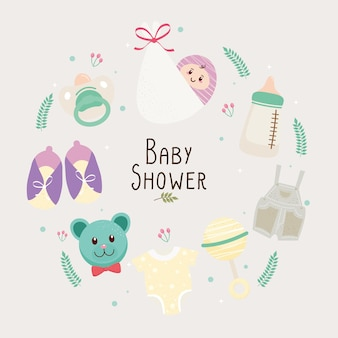 Baby shower lettering card with set icons around  illustration