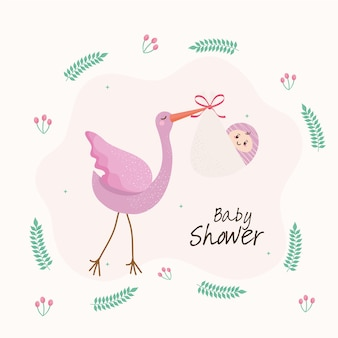 Baby shower lettering card with strok and girl  illustration
