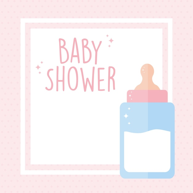 Baby shower lettering and one baby bottle with milk illustration design