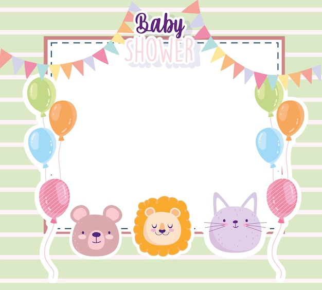 Baby shower lion bear and cat balloons pennants card vector illustration