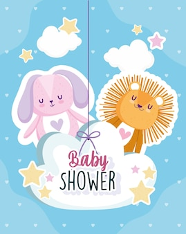 Baby shower, lion and rabbit in hanging cloud card vector illustration