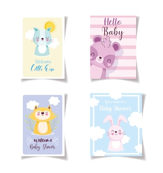 Baby shower little animals celebration cards, welcome invitation template