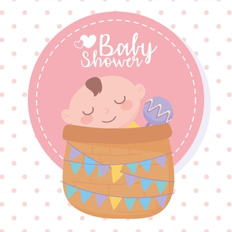 Baby shower, little boy in basket with rattle, celebration welcome newborn