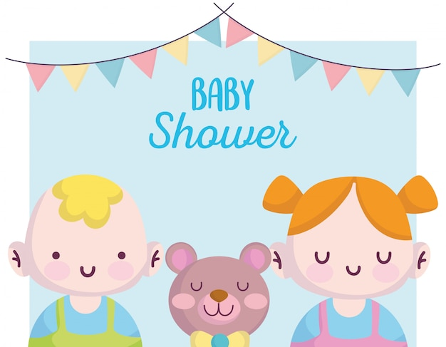 Baby shower, little boy and girl with cute bear, announce newborn welcome card