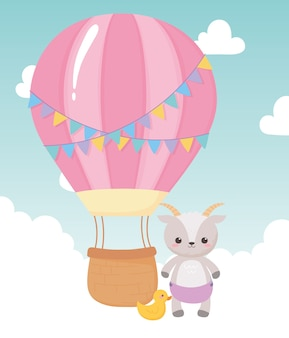 Baby shower, little sheep with duck and air balloon, celebration welcome newborn