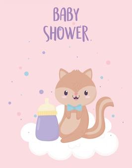 Baby shower little squirrel card cartoon decoration