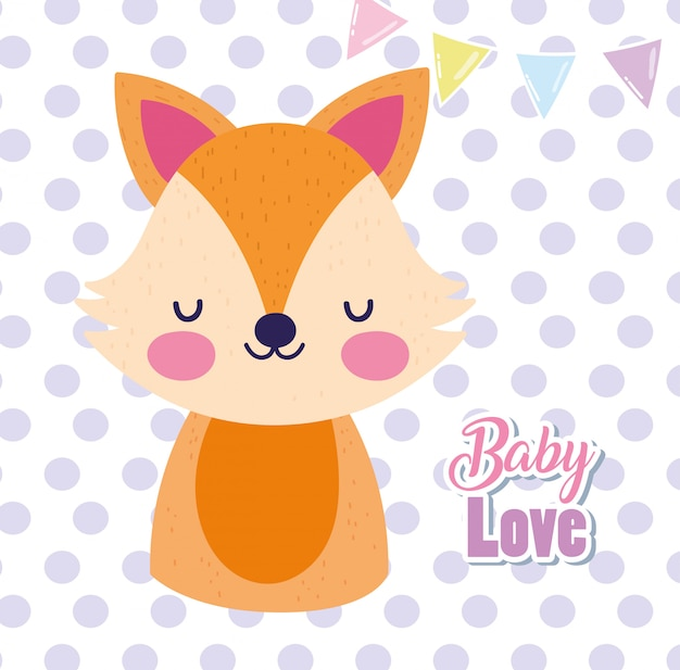 Baby shower love cute fox cartoon polka dots greeting card