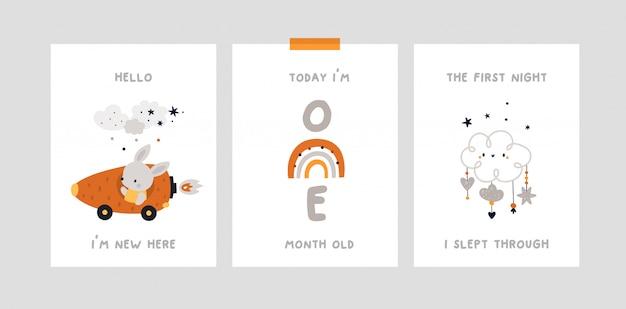 Baby shower, milestone cards with bunny, rainbow.