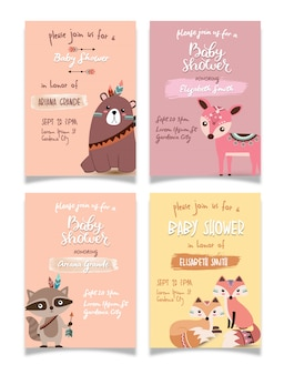 Baby shower mini card collection set