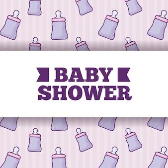 Baby shower over baby bottles background