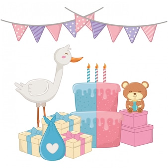 Baby shower party illustration