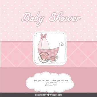 Baby shower pink card with baby stroller