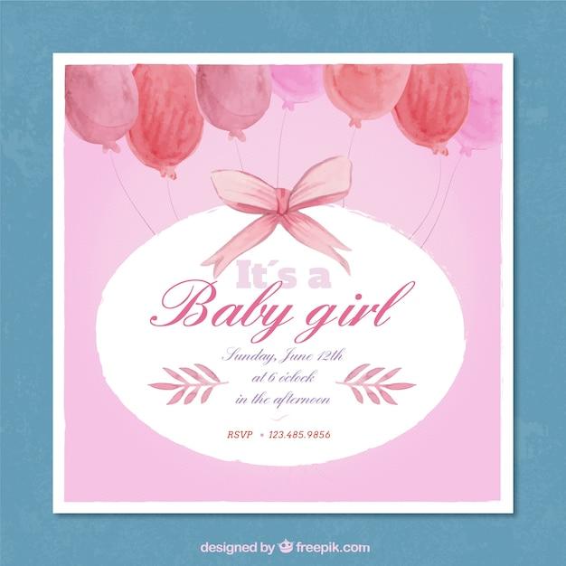 Baby shower invito rosa in acquerello