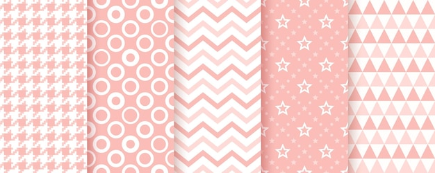 Baby shower pink pattern. cute textures with circles, zigzag, triangles, stars and checkered.