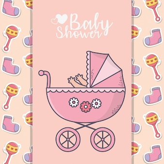 Baby shower pink pram with socks and rattle banner background