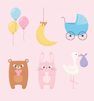 Baby shower, pink rabbit teddy bear pram stork balloons and moon icons