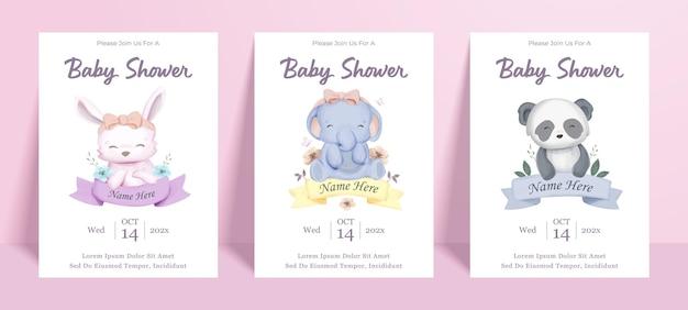 赤ちゃん動物のキャラクターとベビーシャワーのポスターバナーテンプレート