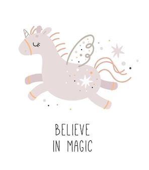 Baby shower poster boho style, cute unicorn believe in magic, kids print