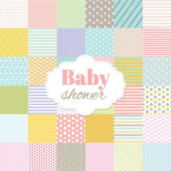 Baby shower poster with gradient mesh illustration