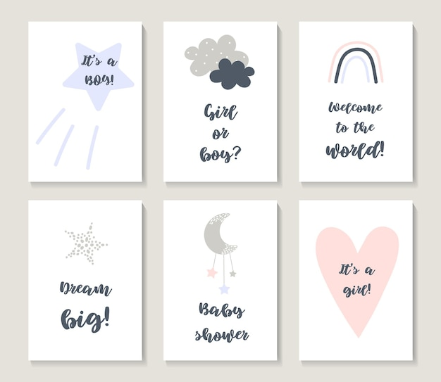 Baby shower posters set