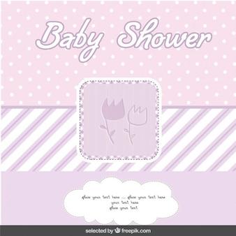 꽃과 베이비 샤워 퍼플 카드