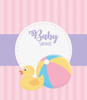 Baby shower, rubber duck and plastic ball pink stripes background