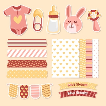 Baby shower scrapbook elements pack