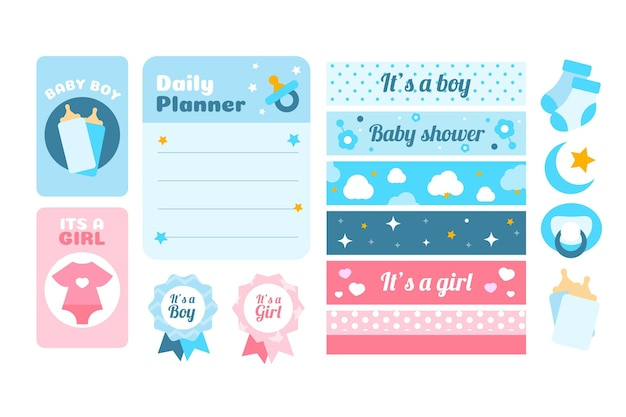 Baby shower scrapbook elements set