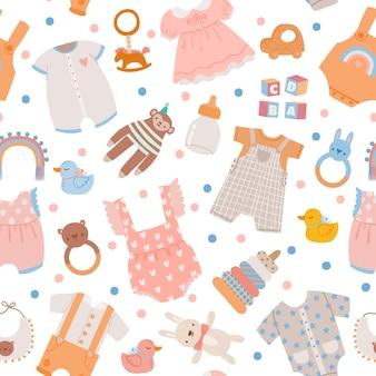 베이비 샤워 완벽 한 패턴입니다. 남자아이와 여자아이를 위한 귀여운 신생아 옷, 장난감, 액세서리, 병, 드레스, 바디수트. 보육 벡터 인쇄