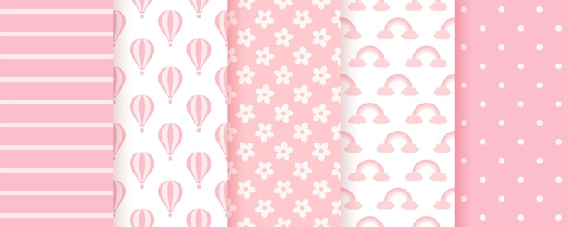 Baby shower seamless pattern. pink pastel backgrounds. baby girl geometric prints. set of kids textures.