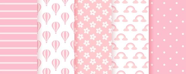 베이비 샤워 완벽 한 패턴입니다. 핑크 파스텔 배경입니다. 아기 소녀 기하학적 인쇄. 아이 텍스처의 집합입니다.