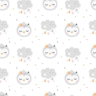Baby shower seamless pattern with birds and clouds. kids pattern