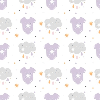 Baby shower seamless pattern with cute baby clothes, clouds and stars. kids pattern