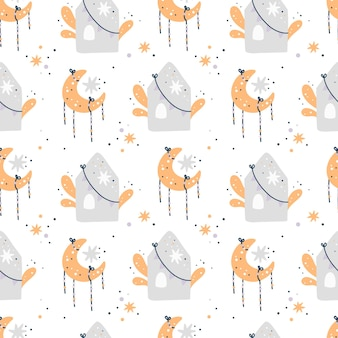 Baby душ бесшовные модели с луной, звездами и домами. детский образец