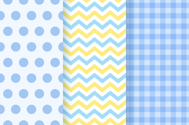 Baby shower seamless patterns for baby boy.  illustration.