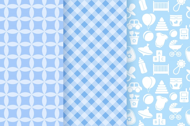Baby shower seamless patterns for baby boy.