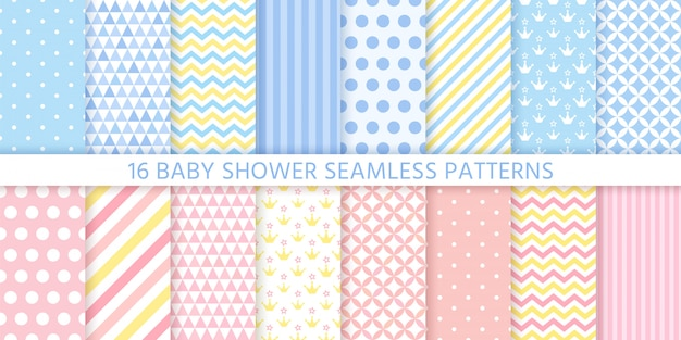 Baby shower seamless patterns for baby girl and boy.   illustration.
