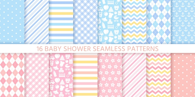 Baby shower seamless patterns for baby girl and boy.