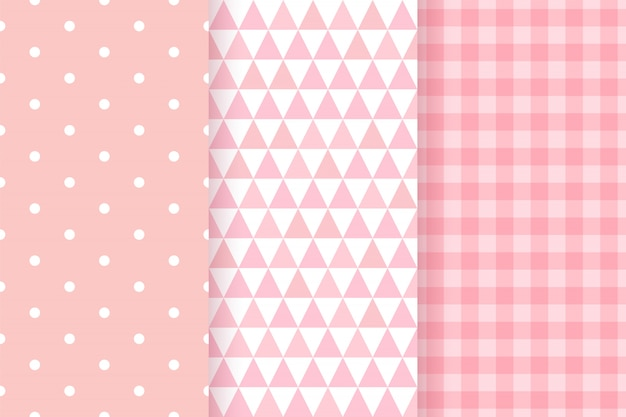 Baby shower seamless patterns for baby girl.