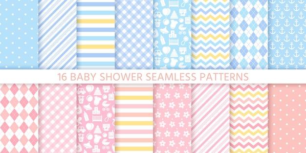 女の赤ちゃんと男の子のためのベビーシャワーのシームレスパターン。